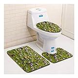 HONGYUANZHANG Lavendel Toilette Bodenmatte Toilettensitz Dreiteiliges Bad Anti-Slip,35X45Cm/37.5X45Cm/45X75Cm