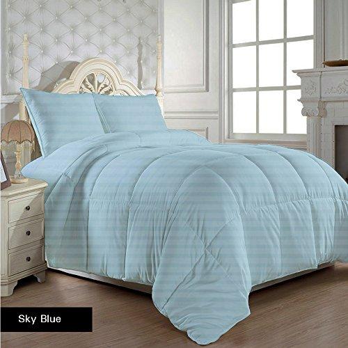 Super weiche Ägyptische Baumwolle Fadendichte 300, Daunenjacke mit Set von Blätter 300GSM Euro King IKEA Sky Blau gestreift 100% Baumwolle 300TC -