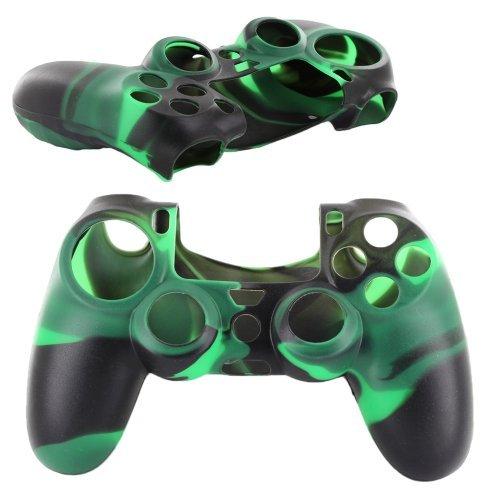 Skque® weiches Silikon Camouflage Skin Tasche Hülle für Sony PlayStation 4 PS4 Steuerung, Schwarz & Grün (Blk-steuerung)