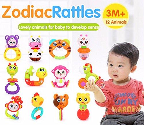 RIANZ All New cute Animal Rattle toy for newborn baby kids (Set of 2 random designs)