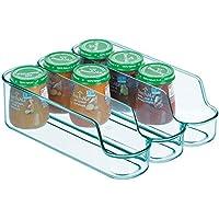 mDesign Caja de plástico separadora para guardar comida para bebés – Organizador de biberones pequeño con 3 compartimentos – Caja organizadora abierta para alimentos y cosmética – azul mar