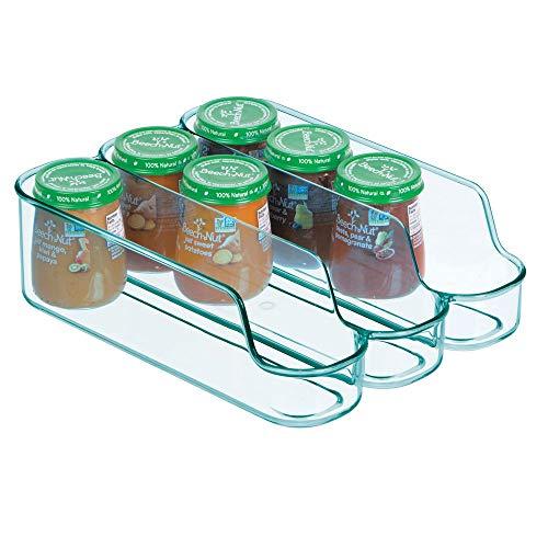 mDesign geteilter Aufbewahrungsbehälter für Babynahrung - kleine Flaschenaufbewahrung mit 3 Fächern - offener Vorratsbehälter für Lebensmittel, Pflegeprodukte und Spielzeug - meerblau (Geteilt Bad-organizer)