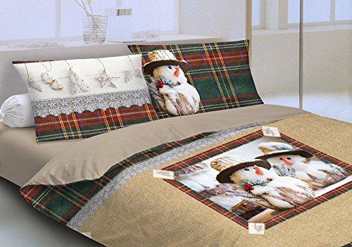 Centesimo web shop copripiumino matrimoniale puro cotone due piazze 250x200 shabby chic country scozzese beige verde pupazzo di neve natale inverno paesaggi -