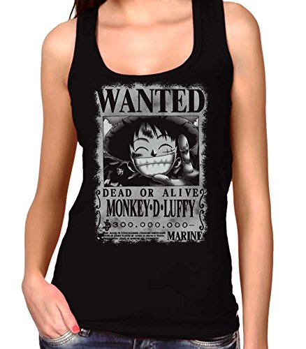 35mm - Camiseta Mujer Tirantes Monkey D Luffy Wanted- One Piece, NEGRA, S