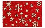 Kokos Fußmatte im winterlichen Design mit Schneeflocken 40 x 60 cm