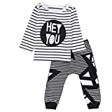 kingko® 1Réglez Garçons Outfit Vêtements Stripe Imprimer Long Sleeve Shirt Tops + longues Pantalons Pantalons (24M)