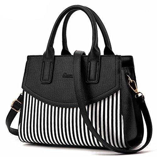 LI&HI Damen fashion vintage elegant Leder Streifen Pendler Handtaschen Schulterbeutel Umhängetaschen Abendtaschen Clutch (Pendler-tasche)