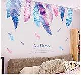 OTXA Sticker mural DIY Romantique Plume Stickers Muraux pour Chambres d'enfants Filles Chambres Chambre Décor Fleur Arbre Décalque De Papier Peint Salon