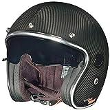 rueger-helmets RC-591 Carbon Jethelm Motorradhelm Chopper Café Racer Sonnenvisier Bobber, Größe:XL (61-62), Farbe:Carbon