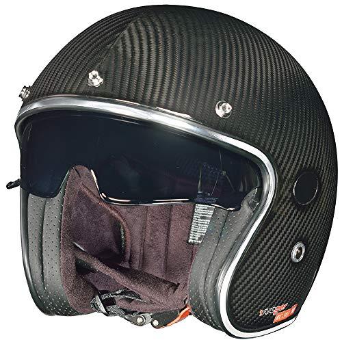 rueger-helmets RC-591 Carbon Jethelm Motorradhelm Chopper Café Racer Sonnenvisier Bobber, Größe:XXL (63-64), Farbe:Carbon