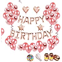 iZoeL Anniversaire Ballon Rose Kit Guirlande Happy Birthday Ballon, 15 Ballons Confettis Rose Or, 36 Latex Ballon Rose Or, 4 Ballons Chiffre étoile et Coeur