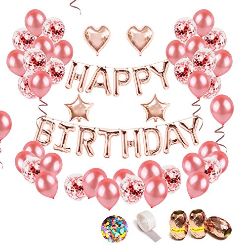 iZoeL Geburtstags Dekoration Rose Gold Happy Birthday Girlande Folienballons 36 Ballons 15 Rosegold Konfetti Luftballons & 4 Herz und Stern Folie Ballons für Mädchen Freundin Tochter
