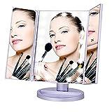 Espejo de maquillaje de luz LED, ARMANII 1X2X3X Espejo de aumento de la vanidad triple pliegue Espejo de aumento de mesa con 21 luces LED Smart Touch Screen On / Off - Púrpura