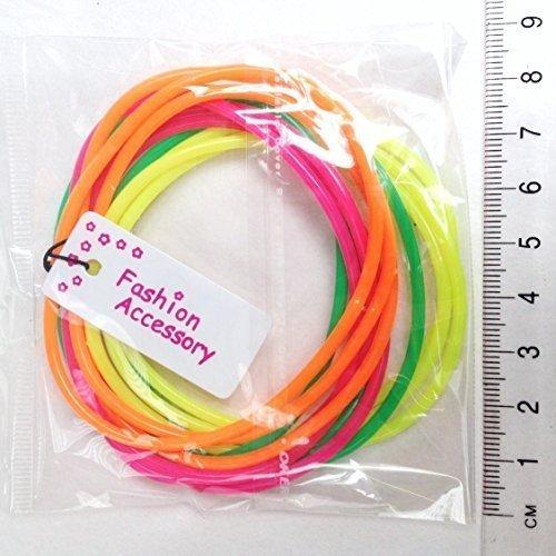 Inca Packungen mit 12 Neon Gummie Armbänder/Leuchtend Armreifen/Gummibänder - Groß Party Tasche Füller und 80s Jahre Maskenkostüm Zubehör - Grün/Orange/Pink, Grün/Orange/ Pink, Pack of 12 -