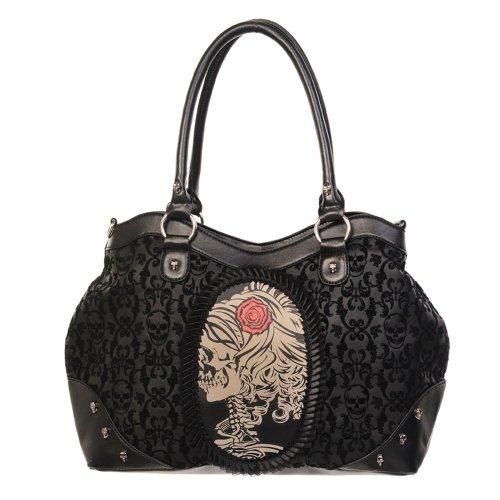 Banned Steampunk Damen Handtasche Skelett Dame Gemme - Skull Portrait Cameo Schultertasche - Schwarz Viktorianischen Schuhe