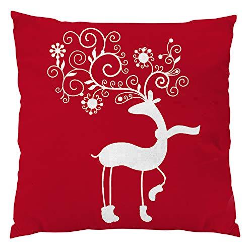 Natale cuscino, rosso vintage natale lino cuscino caso natale cervo cuscino copertina home decor, zolimx regalo di natale