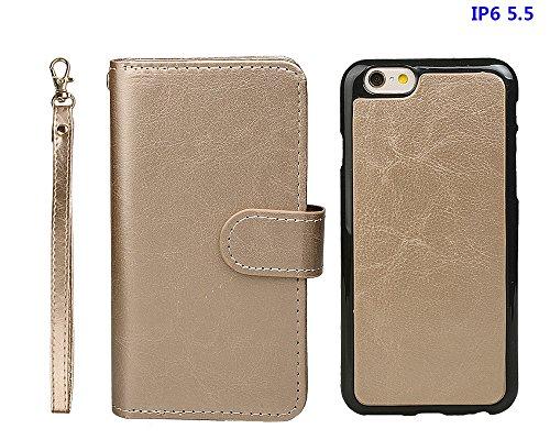 """xhorizon TM FM8 Cuir Premium Folio étui [ la fonction de portefeuille] [magnétique détachable] Sac à main bracelet souple Carte Multiple couvrefente pour iPhone 6 plus(5.5"""") d'or+Film acier"""