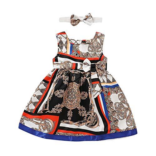 IZHH Kinder Baby Mädchen Kleidung Kleid,Kinder Kostüm Kleinkind Kinder Sommer Nationalen Stil Print Kleid Haarband Prinzessin Stirnband Kleidung Set Ostergeschenk Festliche Kleider ()