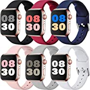 MAZTRON 6-Pack Silicone Band Compatible with Apple Watch Band 38mm 40mm 42mm 44mm, Soft Replacement Sport Stra