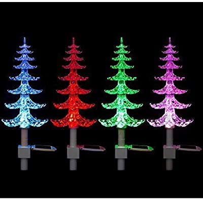 Garden mile® Large Solar powered Colour Changing LED Garden tree,Garden Lighting Perfect For Border Lights Flower beds and pathway Lights.Solid Acrylic Decorative Garden Lighting.