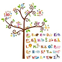 Decowall DA-1503 Animal Alphabet ABC and Owl Numbers Tree Kids Wall Stickers Wall Decals Peel and Stick Removable Wall Stickers for Kids Nursery Bedroom Living Room
