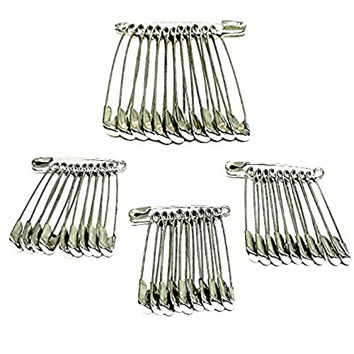 GLITTERIA Steel Safety Pins for Women, Metallic (Pack of 42)