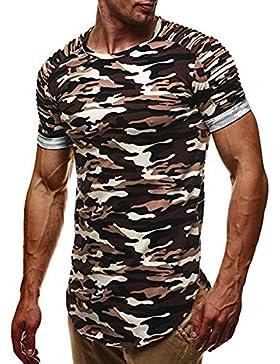 T-Shirt per Uomo - Moda Maniche Corte Collo Rotondo Maglietta Camuffare Oversize Sports Lavoro Casual Camicette...