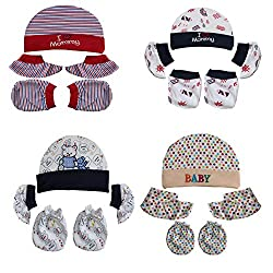 0Month+ 100% Soft Cotton New Born Baby Caps Mittens and Booties Multi-color Combo Pack of 4