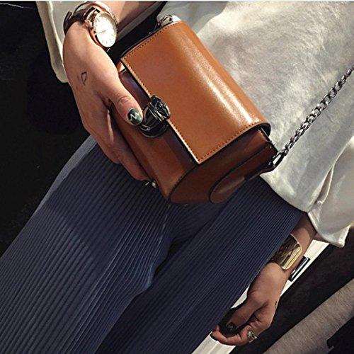 Moda Donna Artificiale In Pelle Spalla Borsa Catena Strap Messenger Borse Fibbia In Metallo di Kangrunmy Marrone