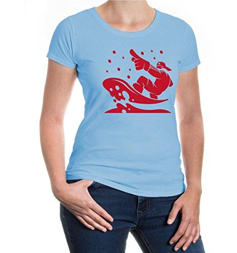 buXsbaum Girlie T-Shirt Snowboarding Comicfigur-XXL-Skyblue-Bordeaux (Forum Snowboard-t-shirt)