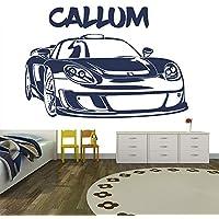 Ragazzi Nome personalizzato Wall Sticker Sports Car Adesivo Camera Decor disponibile in 5 dimensioni e 25 colori Extra Grande