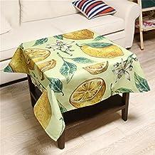 S&H Tejido de algodón algodón Lemon & Tabla de viento Pastoral mesa de cocina mesa baja zapata cuadrada mantel tejido engrosado hogar (Tamaño: 85*85 cm)