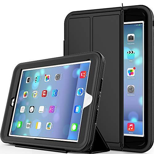 Yoomer Schutzhülle für iPad Mini, iPad Mini 2, iPad Mini 3, dreilagig, robust, mit magnetischer Auto-Sleep/Wake-up-Funktion, Standhülle für iPad Mini 1/2/3, schwarz