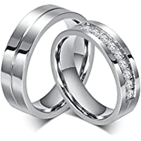 Bishilin Gioielli Anello Acciaio 6MM Anelli Fidanzamento Coppia Con 2 Rings