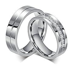 Idea Regalo - Bishilin Gioielli Anello Acciaio 6Mm Anelli Fidanzamento Coppia per Con 2 Rings Donna Dimensioni 15 & Uomo Dimensioni 22