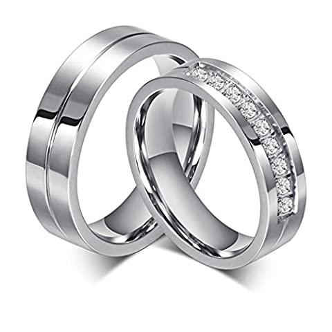 Bishilin Stainles Steel 6Mm Promise Rings For Couples Set With 2 Rings Women Size P 1/2 & Men Size T 1/2