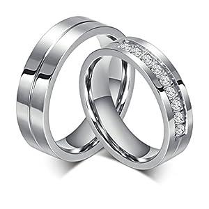 Bishilin Edelstahl 6MM Verlobungsringe Für Paars Set mit 2 Ringe