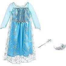 Vicloon - Disfraz de Princesa Elsa - Reino de Hielo - Vestido de Cosplay de Carnaval, Halloween y la Fiesta de Cumpleaños - 120