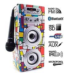 Idea Regalo - Biwond Joybox Altoparlante con lettore audio, microfono karaoke e Bluetooth, modello Picasso