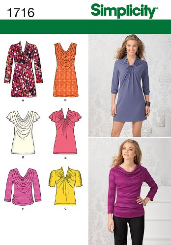 Simplicity 1716.p5 Schnittmuster Knit Top und Mini Kleid (Knit Top Draped)