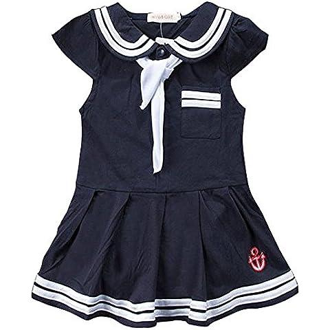 Bebé niñas vestido de estilo marinero azul marino algodón vestido de solapa con gran lazo