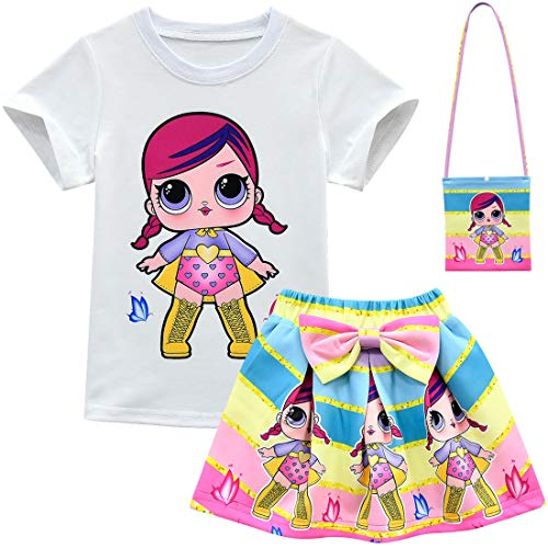 ALAMing Girl Short Sleeve T-Shirt LOL Surprise Doll Girls Childrens Music Clothes