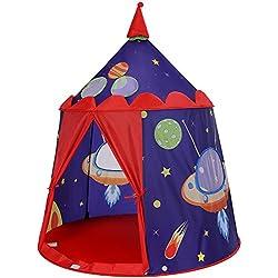 SONGMICS Tente de Jeu Château de Prince pour Garçon, Maison de Jeu Intérieure et Extérieure, Portatif avec Sac de Transport, Cadeau pour Enfants, Certifiée par EN71, Bleu LPT01BU