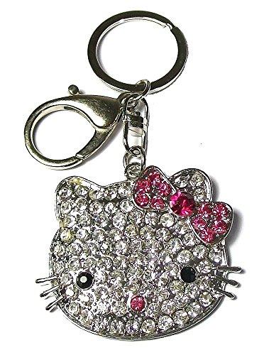 Kätzchen-Schlüsselanhänger Silberfarben Rosa Schleife Strass -