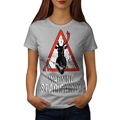 wellcoda Warnung Party Komisch Hirsch Frau T-Shirt Junggeselle Lässiges Design Bedrucktes T-Shirt -