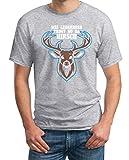 Mei Lederhosn Trogt No Da Hirsch - Witziges Oktoberfest Shirt T-Shirt XXX-Large Grau