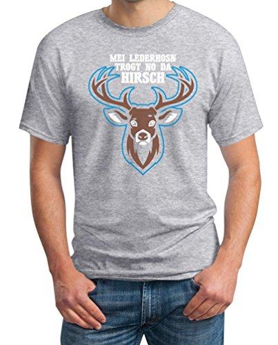Mei Lederhosn Trogt No Da Hirsch - Witziges Oktoberfest Shirt T-Shirt XX-Large Grau (Bayerische Anzug)
