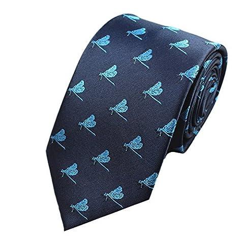 Z-P Mens Dragonfly Pattern Luxury Elegant Necktie Jacquard Skinny Microfiber Tie