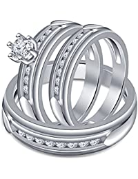 Silvernshine His & Hers 14k White Gold .925 Silver 1 Carat Diamond Engagement Trio Ring Set
