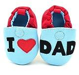 S6- Scarpine neonati I love dad-ti amo papà tg.11 (0-4 mesi)